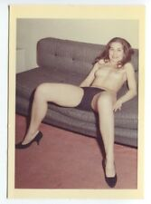 Female On Couch Spread Eagle Long Legs 1950 Original Nude Color Photo  B6623