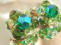 Vintage 1970's Stunning Green AB Crystal Cluster Flower Clip On Earrings  678ag9