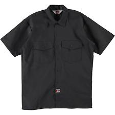 Ben Davis Short Sleeve Button Up Work Shirt Solid Charcoal