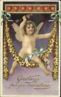 Valentine Cupid Arrow Flowers & Hearsts c1910 Embossed Postcard