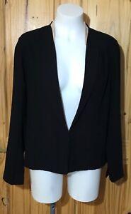 ASOS Womens Black Blazer Jacket Nude Collar Hook & Eye Light Weight UK 12