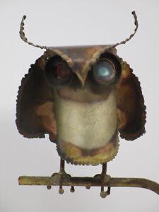 Vintage Mid Century Modern MCM C. Curtis Jere 1972 Owl on Branch Metal Sculpture