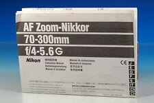 Nikon AF ZOOM-Nikkor 70-300mm/4-5.6 g manual de instrucciones manual - (101318)