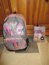 "NWT ROXY Girls ""Pink & Coral Shimmer"" School Backpack Book Bag & Bonus Lunch Bag"