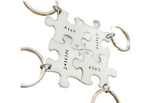 Hand stamped metal key chain - Key chain puzzle piece - Custom Key ring SET OF 4