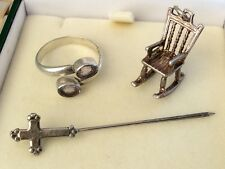 Chair Charm / Silver Ring & Tie Pin Nice Lot Of Vintage Solid Silver - Rocking