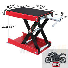"""Center Lift 13"""" Jack Hoist Stand 1100Lb Red Wide Deck For Motorcycle Bikes Atv"""