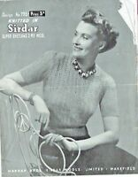 Original 1940s Vintage Knitting/Crochet pattern-Ladies lace Jumper Sirdar 795