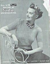 Original 1940s Vintage Knitting/Crochet pattern-Ladies lace Jumper Sirdar 795