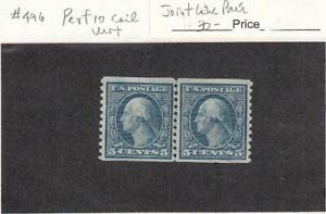1916 Mint Hinged 5ct Geo Washington Perf 10 Vert Coil Pair #496 SCV=$30