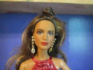 Barbie 2017 Holiday Teresa Doll Brunette Sparkling Festive Red Dress Mattel