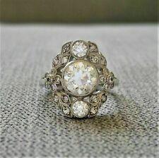 18K White Gold Finish 3Ct Round Cut Diamond Antique Edwardian Engagement Ring