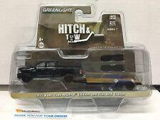 Greenlight Hitch & Tow 7 * 2015 Ram 1500 MOPAR Black & Flat Bed Trailer