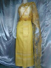 THAI WEDDING DRESS TRADITIONAL BRIDAL GOWN THAILAND STUNNING GOLD