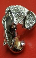Ancienne broche vintage tête d'éléphant métal et Strass.