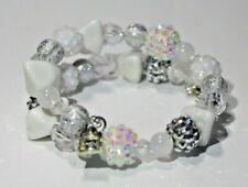 WHITE, SILVER, OPAQUE beads ~ Handmade Beaded Wrap Bracelet ~ Perfect Gift!