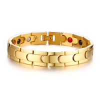 Gold Men Health Care Magnet Therapy Bracelet Energy Arthritis Pain Relief Chain