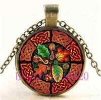 Vintage Celtic Fall Photo Cabochon Glass Bronze Chain Pendant Necklace
