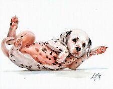 Original Oil Art DALMATIAN Portrait Painting DOG PUPPY Artist Signed Artwork
