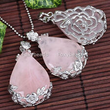 1P Rose Quartz Teardrop Gems Bead Inlaid Flower Charm Pendant fit Necklace DIY