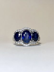 $10,000 Sapphire & Diamond White gold Trilogy ring 3.30ct $10,000 valuation