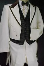 Vintage Ivory & Brown Velvet 4pc Tail Tuxedo Or Retro Tux Jacket Prom Party