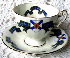 Adderley Nova Scotia Tartan Teacup and Saucer H641 Blue Tartan Sash Tea Cup Set