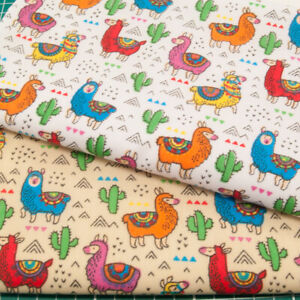 Llama Alpaca Cactus Polycotton Fabric Children Kids Craft Material By the Metre