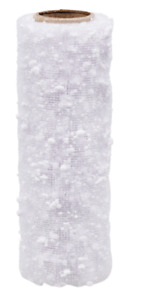 """Crafter's Square CHRISTMAS Snowball Decorative Mesh Ribbon 6"""" x 3 yds ~ White"""