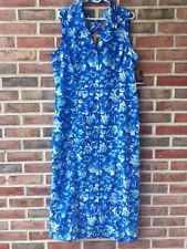 Sag Harbor Blue Long Floral Hawaiian Button Down Dress Size 14 Cut Out Back