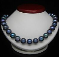14K GOLD 10-11MM TAHITIAN BLACK BLUE PEARL NECKLACE 18'' Strand/String STYLE