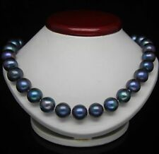 14K GOLD 10-11MM TAHITIAN BLACK BLUE Strand PEARL NECKLACE 18''