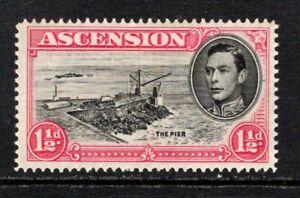 Ascension KGVI  1938-53  1½ (p14) Cut Mast and Railings SG40db M/Mint (High Cat)