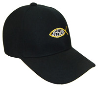 Black & Gold Jesus Fish Adjustable Baseball Cap Hat Caps Hats God Christ TEXT