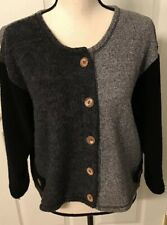 Aly Wear Cropped Cardigan  Women's Small Unique Buttons Fleece Color Block