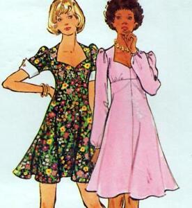 "Vintage 70s FIT & FLARE DRESS Sewing Pattern Bust 38"" 97 cm Sz 14 RETRO Tea"