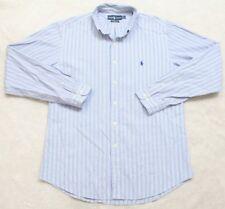 Ralph Lauren Dress Shirt Striped Men's Button Up XL 17.5 36/37 Cotton Blue White