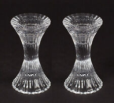 "Candle Holders Clear Glass for Taper Candles Fluted Lines 2.5""D 5"" High Set of 2"
