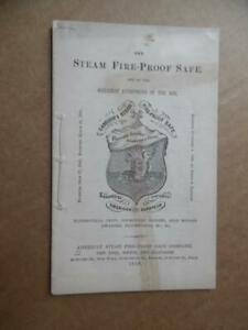1868 American Steam Fire-Proof Safe Company Catalog Sanborn Antique Original