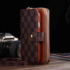 """Brown Check Leather Wallet Case for iPhone 6 6s 4.7"""" Classy Luxury Designer Men"""