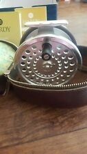 "Excellent Hardy marquis no. 3 salmon fly fishing reel 4 + 1/8ths"" + Leather case"