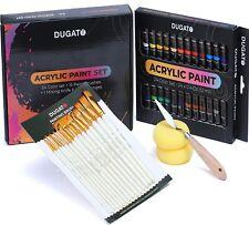 Complete Acrylic Paint Set - 24 Colors 15 Paint Brushes Mixing Knife & 2 Sponge