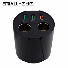 Car Cup Holder Charger Power 2 Cigarette Lighter Socket 3 USB Adapter