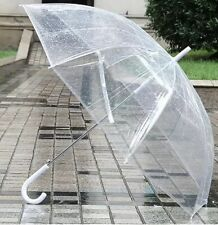 Large Transparent Clear Dome See Through Umbrella w White Handle 8 Rib Auto Open