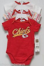 NFL NWT INFANT ONESIE-SET OF 3- KANSAS CITY CHIEFS 18 MONTHS