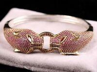 Turkish Handmade 925 Sterling Silver Red Ruby Ladies Womans Bracelet Bangle 0251