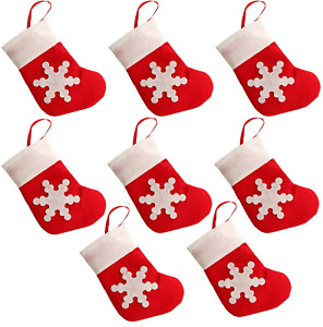 8 Mini Christmas Stocking Cutlery Holders or Hanging Tree Gift Pouch Decoration
