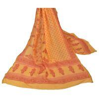 Sanskriti Vintage Dupatta Long Stole Pure Silk Saffron Veil Printed Scarves