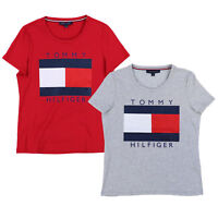 Tommy Hilfiger Womens T-Shirt Graphic Tee Flag Logo Short Sleeve Crew Neck New