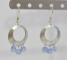 handmade round silver with blue crystals dangle earrings